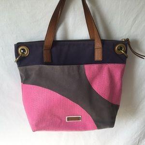 Fossil Canvas Faux Leather Color Block Handbag